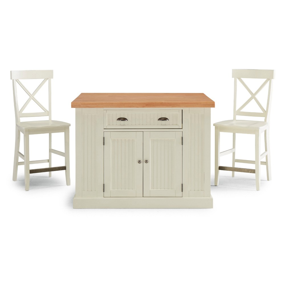 Nantucket Solid Wood Top Kitchen Island and 2 Counter Stools White - Home Styles