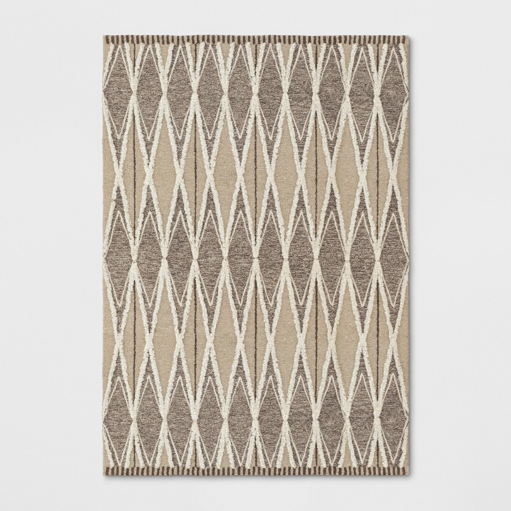 7'X10' Tufted Damask Area Rug Light Off-White (Beige) - Project 62
