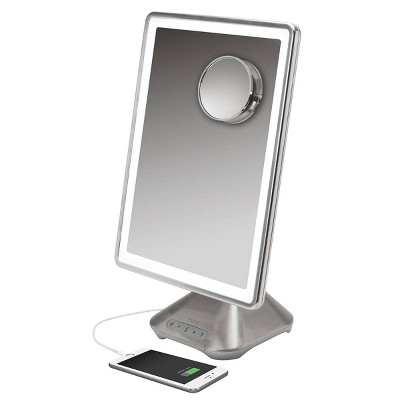 """iHome 10"""" x 13""""  Reflect PRO Portable Lighted LED Vanity Makeup Mirror with  Bluetooth Audio"""