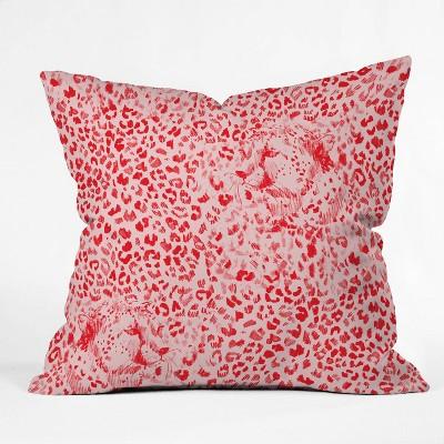 "16""x16"" State Cheetah Sketch Pattern Glow Throw Pillow Red - Deny Designs"