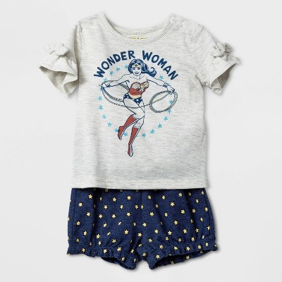 Baby Girls' Warner Bros. Wonder Woman Top and Bottom Set - Oatmeal Heather 18M