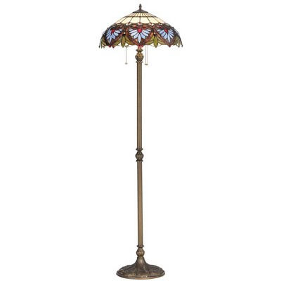 Robert Louis Tiffany Traditional Floor Lamp Bronze Heart Leaf Pattern Stained Glass Shade for Living Room Reading Bedroom Office