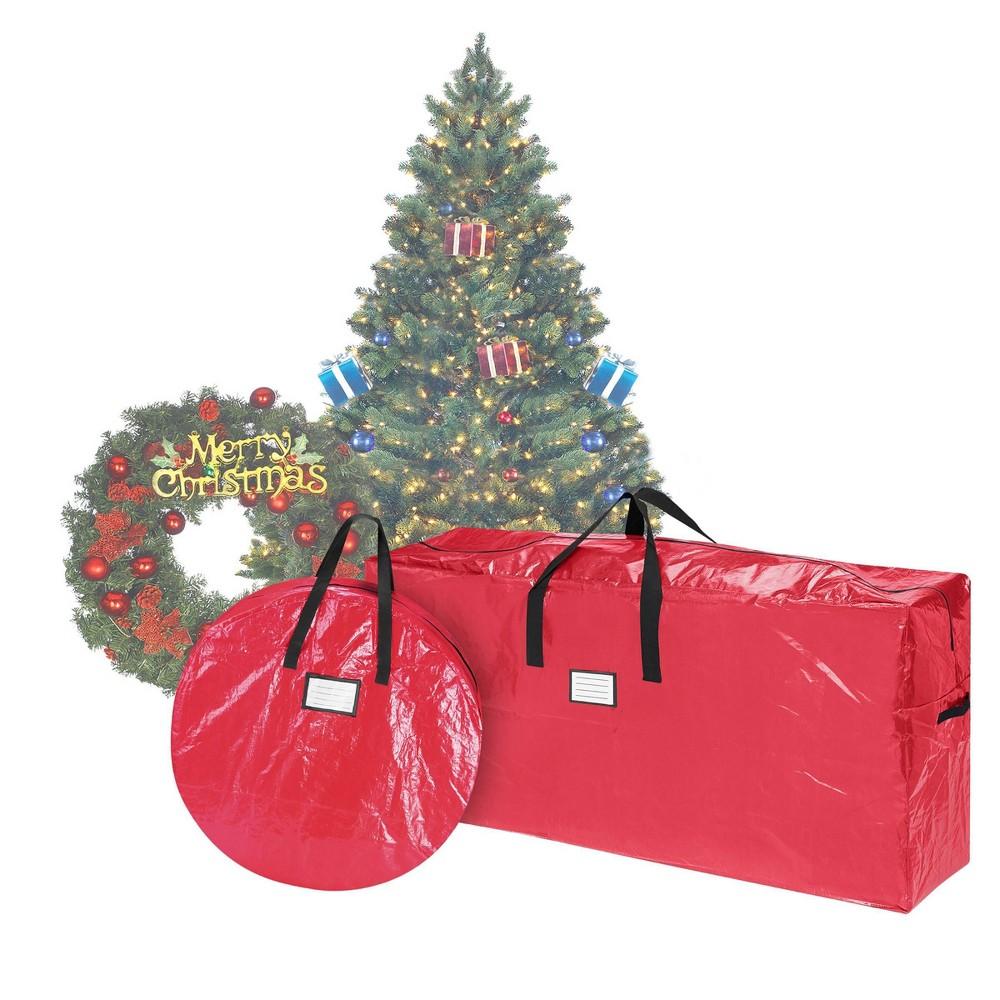 "Image of ""Storage Combo Christmas Tree Storage Bag & 30"""" Wreath Bag Red - Elf Stor"""