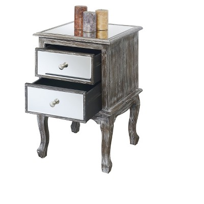 Charmant Gold Coast Queen Anne Mirrored End Table   Weathered Gray / Mirror   Johar  Furniture