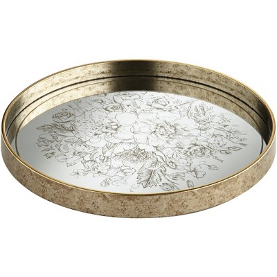 Dahlia Studios Floral Center Painted Gold and White Round Decorative Tray