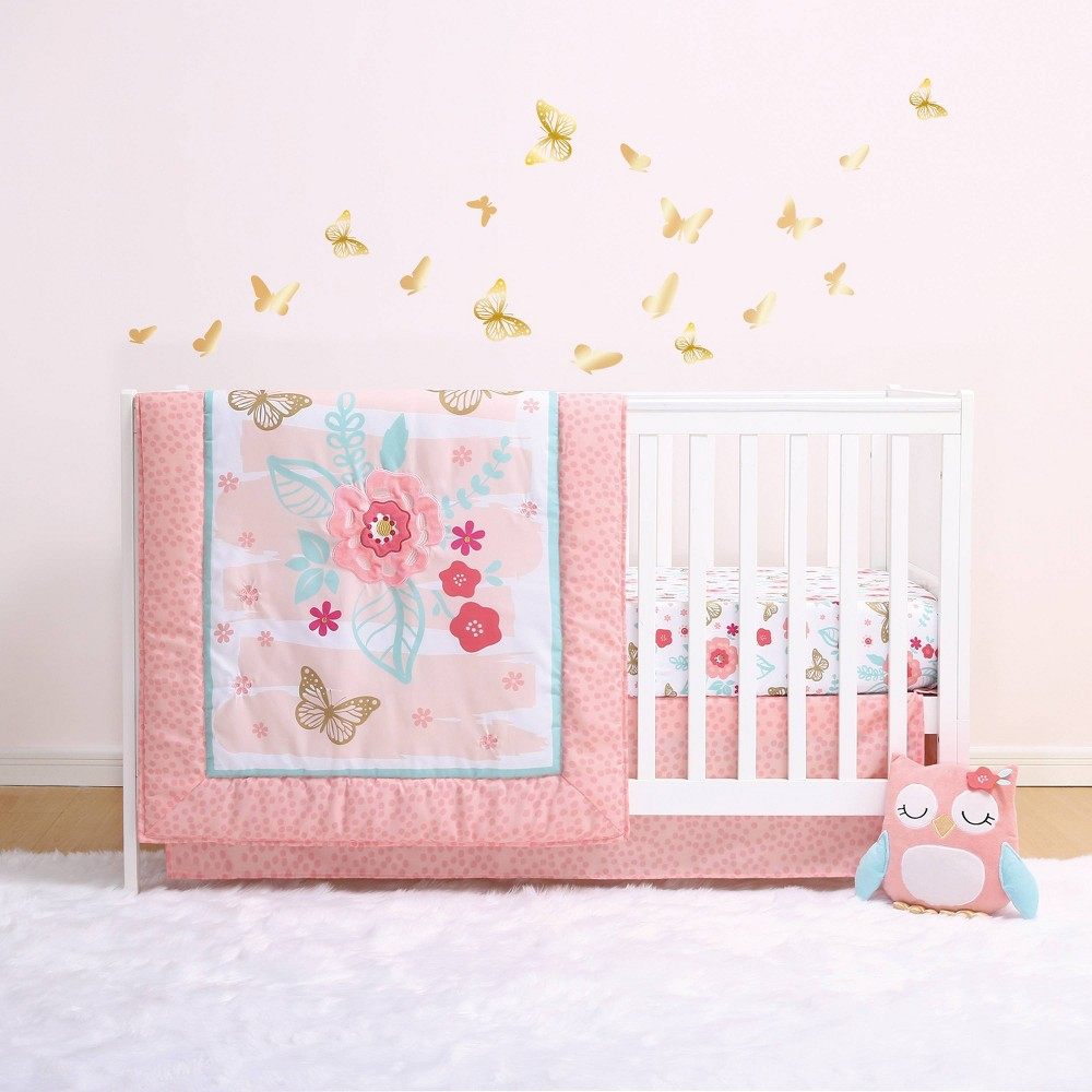 The Peanutshell Little Haven Aflutter 4pc Crib Bedding Set
