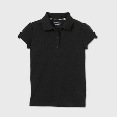 Girls' Short Sleeve Interlock Uniform Polo Shirt - Cat & Jack™ Black
