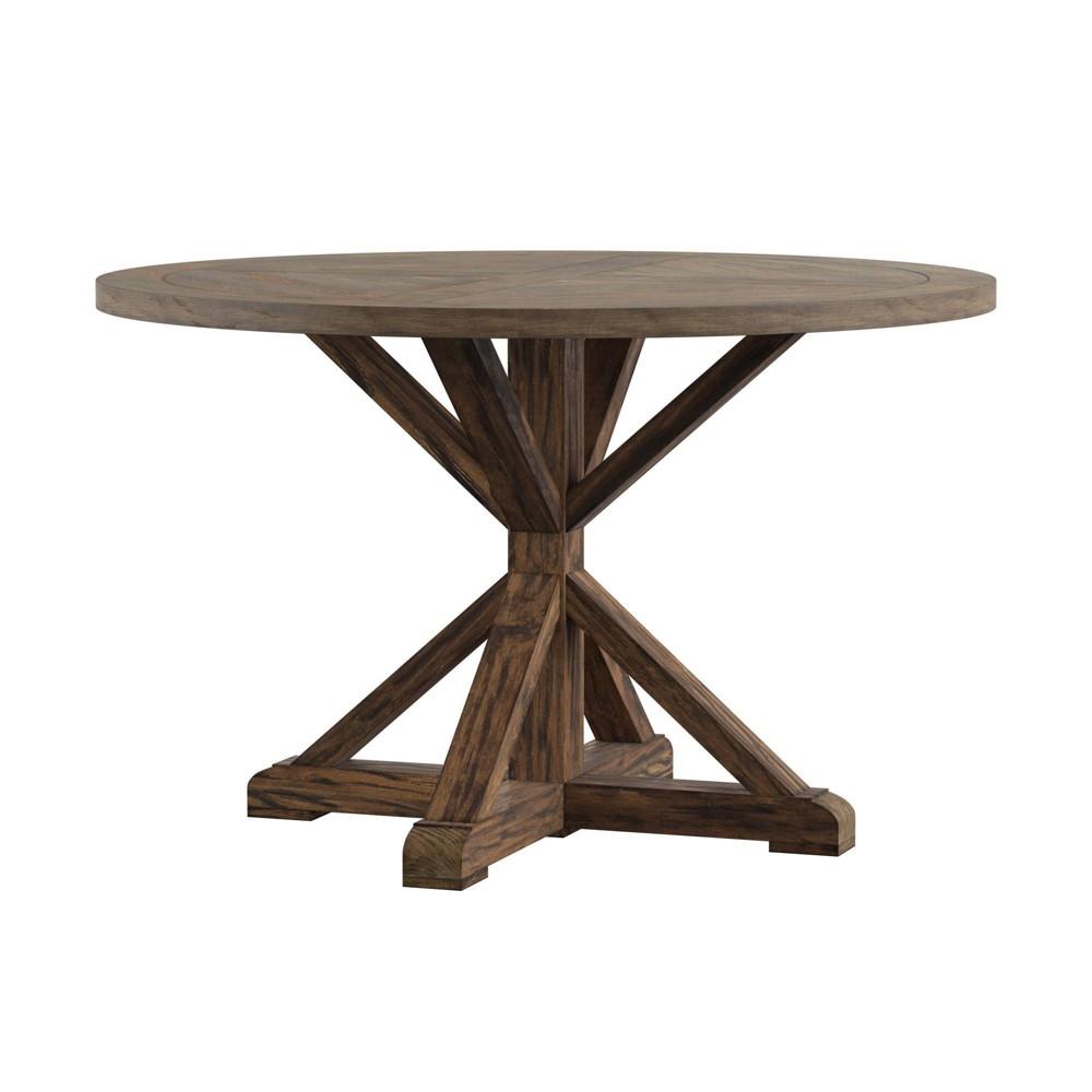 48 34 Sierra Round Farmhouse Pedestal Base Wood Dining Table Brown Inspire Q
