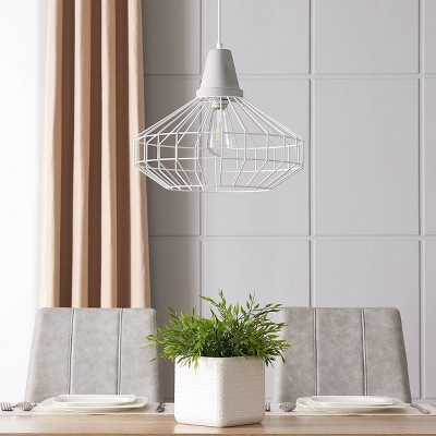 "14"" Birdland Cage Pendant Lamp White - Aiden Lane"