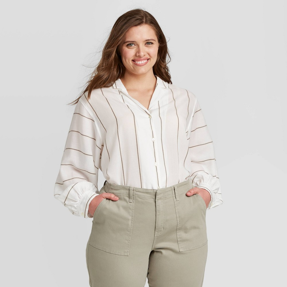 Women's Plus Size Striped Long Sleeve Collared Blouse - Ava & Viv Cream 3X, Women's, Size: 3XL, Ivory was $27.99 now $16.79 (40.0% off)