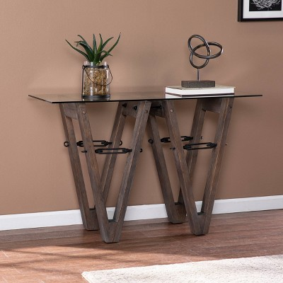 Vicar Reclaimed Wood Console Table Brown/Black - Aiden Lane