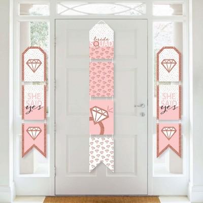 Big Dot of Happiness Bride Squad - Hanging Vertical Paper Door Banners - Rose Gold Bridal Shower Bachelorette Party Wall Decor Kit - Indoor Door Decor