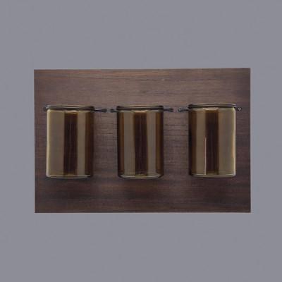 "15"" x 10"" Medium Warm Wooden Plaque with Metal Mason Jars Brown - Threshold™"