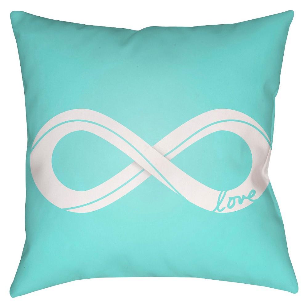Teal (Blue) Infinite Love Throw Pillow 18