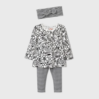 Baby Girls' Baby Doll Top & Bottom Set - Cat & Jack™ Cream Newborn