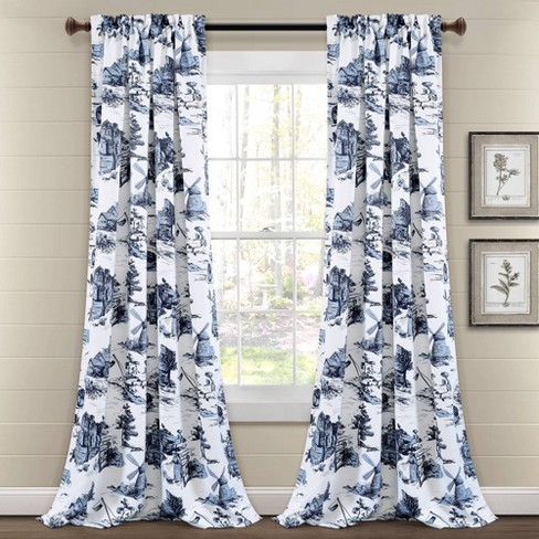 Set of 2 French Country Toile Room Darkening Window Curtain Panels  - Lush Décor - image 1 of 4