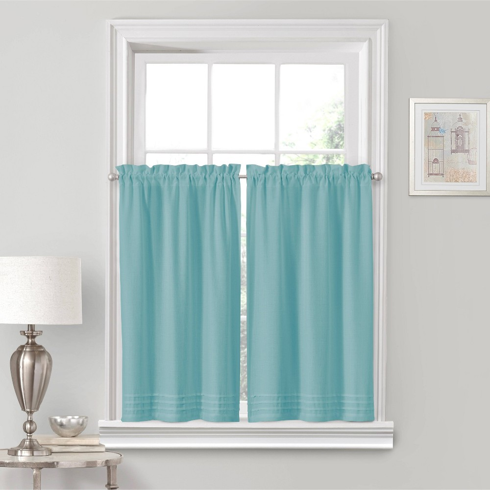"Image of ""36""""x52"""" Kingsbury Rod Pocket Curtain Tier Set Blue - Eclipse"""