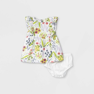 Baby Girls' Floral Gauze Shoulder Ruffle Dress - Cat & Jack™ Cream