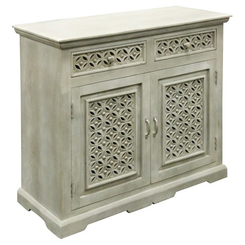 2 Door Cabinet With Hand Carved Fronts And 2 Drawers Gray