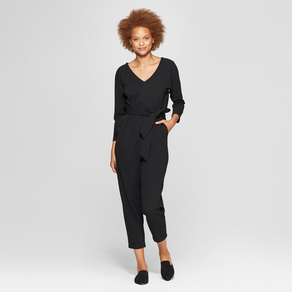 Women's 3/4 Sleeve V-Neck Belted Jumpsuit - Prologue Black XS