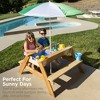 Best Choice Products Kids 3-in-1 Outdoor Convertible Wood Activity Sand & Water Picnic Table w/ Umbrella, 2 Play Boxes - image 3 of 4