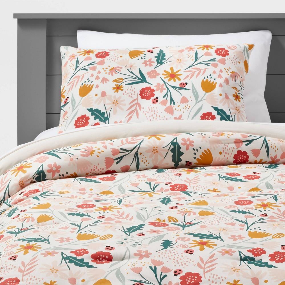 Full Queen Garden Floral Cotton Comforter Set Pillowfort 8482