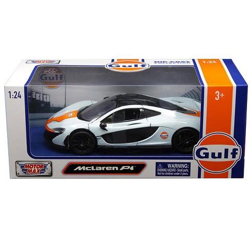 Mclaren P1 Orange >> Mclaren P1 With Gulf Livery Light Blue With Orange Stripe 1 24 Diecast Model Car By Motormax