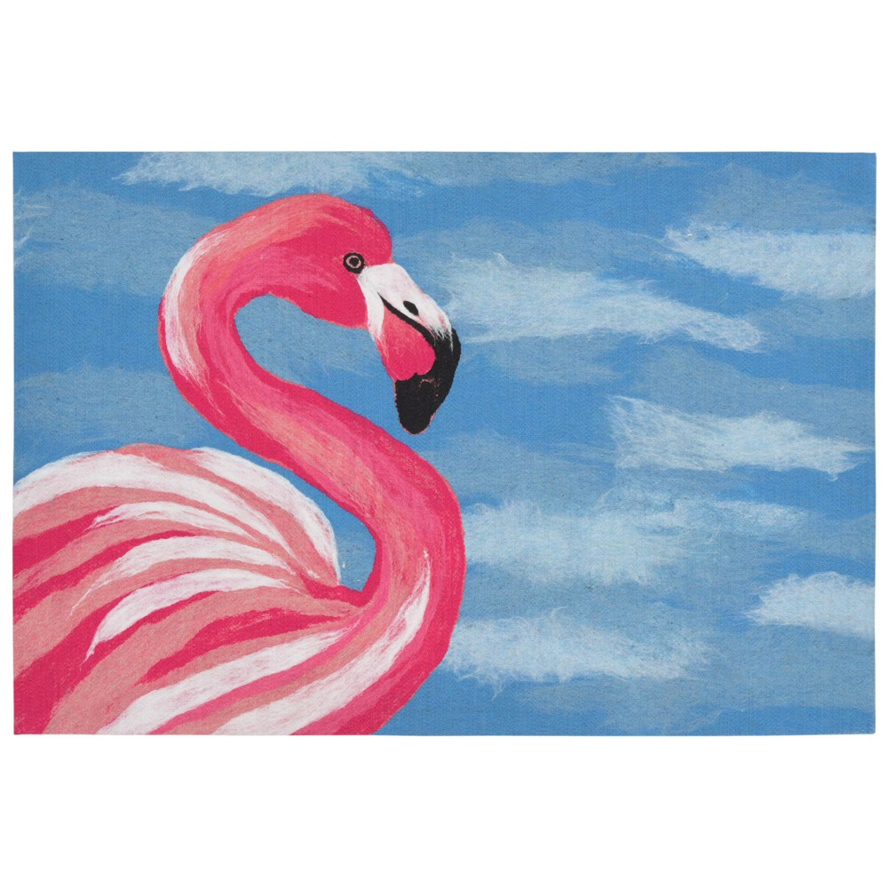"Image of ""1'8""""X2' Bird Pressed Or Molded Accent Rug Blue - Liora Manne"""