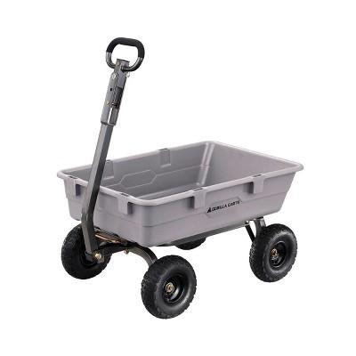 Gorilla Carts 800 Pound Capacity Heavy Duty Poly Yard Garden Steel Dump Utility Wheelbarrow Wagon Cart with 2 in 1 Towing ATV Handle, Gray