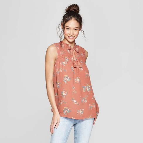 8bfde5c546d38 Women's Floral Print Turtleneck Smocked Tank Top with Tassels -  Xhilaration™ Brown XXL