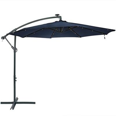 Steel Offset Cantilever Solar Patio Umbrella 10' - Navy Blue - Sunnydaze Decor