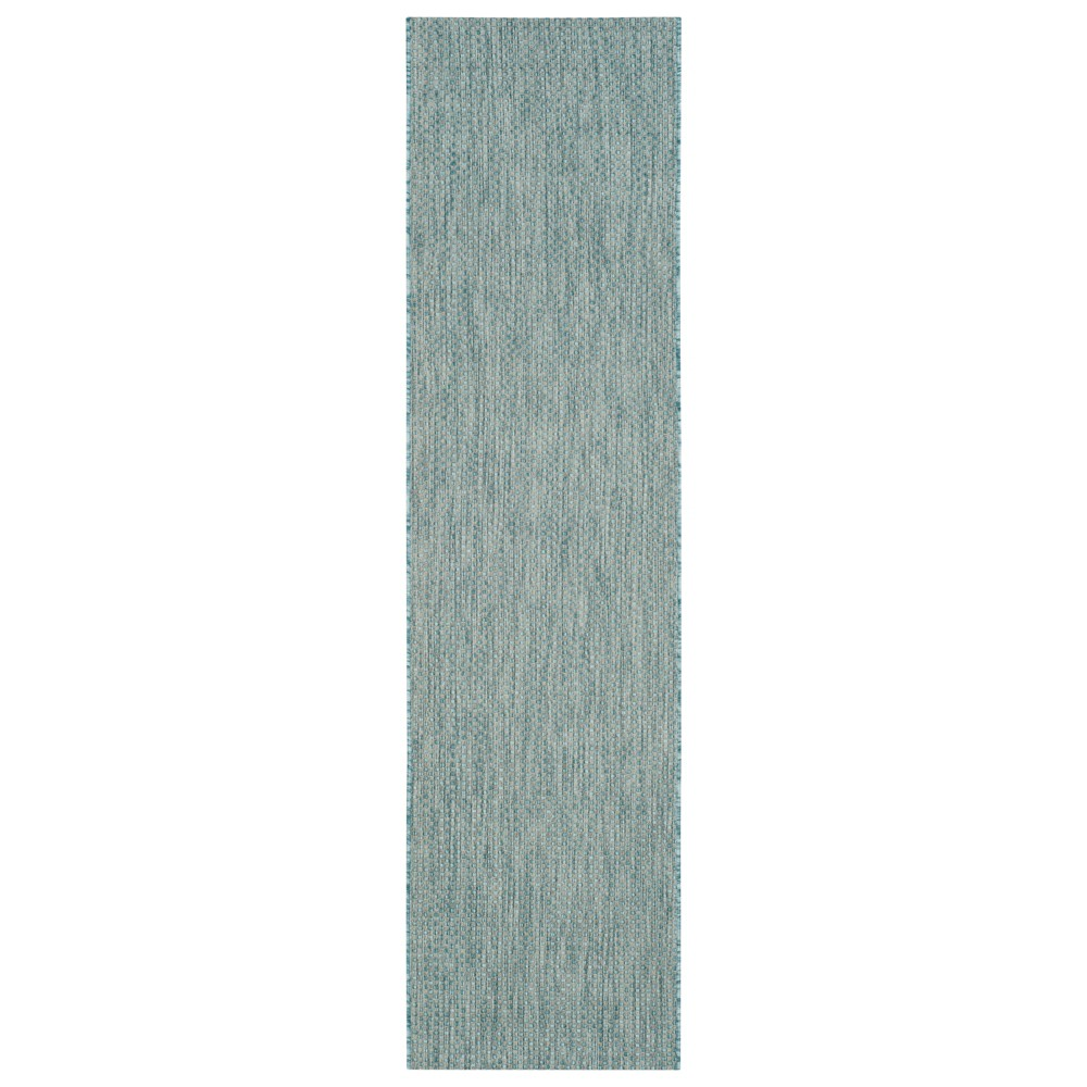 Cherwell 2'3 X 8' Runner Outdoor Patio Rug - Aqua / Gray - Safavieh, Blue
