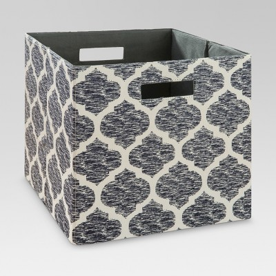 "13"" Fabric Cube Storage Bin Navy Pattern - Threshold™"