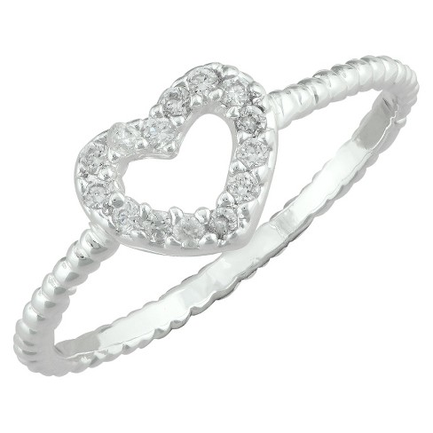 Silver Plated Cubic Zirconia Open Heart Ring - Size 6 - image 1 of 1