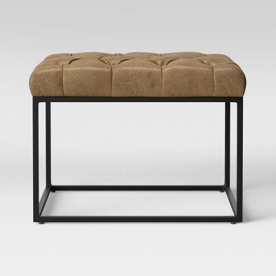 Trubeck Tufted Ottoman Faux Leather with Metal Base Brown - Project 62™