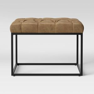 Trubeck Tufted Ottoman Faux Leather