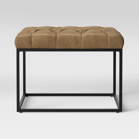 Trubeck Tufted Ottoman Faux Leather with Metal Base Brown - Project 62™ - image 1 of 4