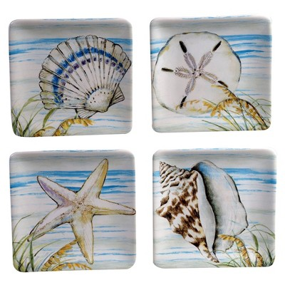 """6"""" 4pk Earthenware By The Sea Canape Plates - Certified International"""