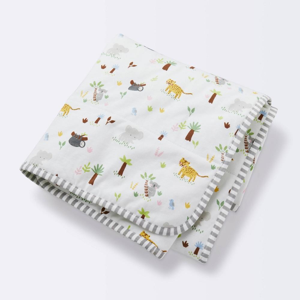 Jersey Knit Reversible Baby Blanket Jungle Animals Cloud Island 8482 Gray Green