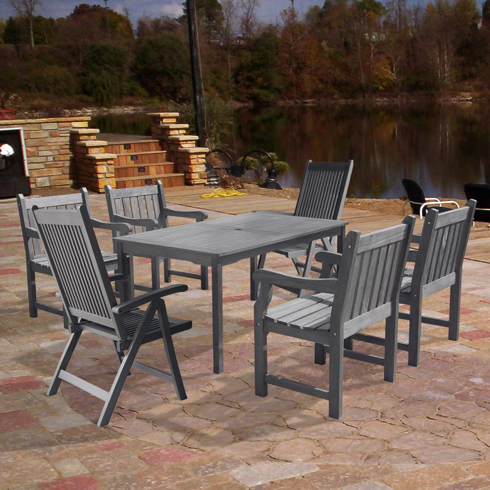 Renaissance 7pc Wood Outdoor Patio Dining Set with Reclining Chairs - Gray - Vifah