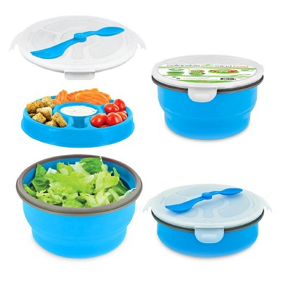 SmartPlanet Deluxe Collapsible Blue Salad Bowl Kit 65 oz