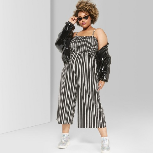 36624e66926 Women s Plus Size Striped Strappy Knit Smocked Top Jumpsuit - Wild Fable™  Black White