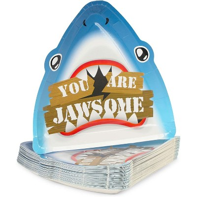 """Blue Panda 48 Pack Jawsome Shark Paper Dinner Plates for Kids Boy Birthday Party Supplies, 10.25"""" x 9.8"""""""