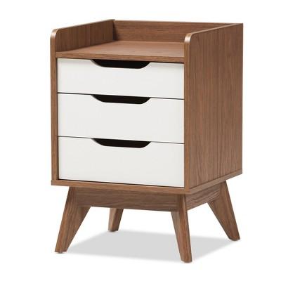 Brighton Mid - Century Modern Wood 3 - Drawer Storage Nightstand - Brown - Baxton Studio