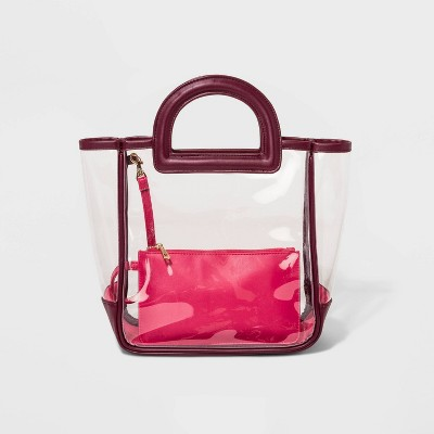 Tote Handbag With Pouch - A New Day™ Clear/Pink