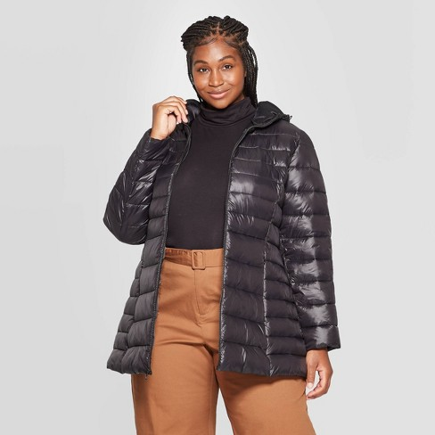 Women's Plus Size Lightweight Quilted Puffer Jacket - Ava & Viv™ Black - image 1 of 2