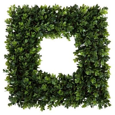Square Boxwood Wreath 16.5  x 16.5  - Pure Garden