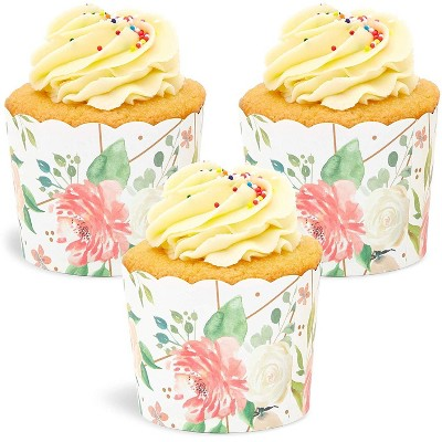 Sparkle and Bash 50 Pack Floral Design Cupcake Wrappers, 2.75 x 2.2 inches Watercolor Flowers Paper Wraps