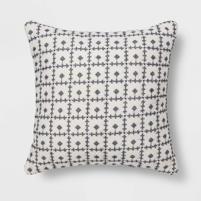 Embroidered Grid Square Throw Pillow Blue - Threshold™