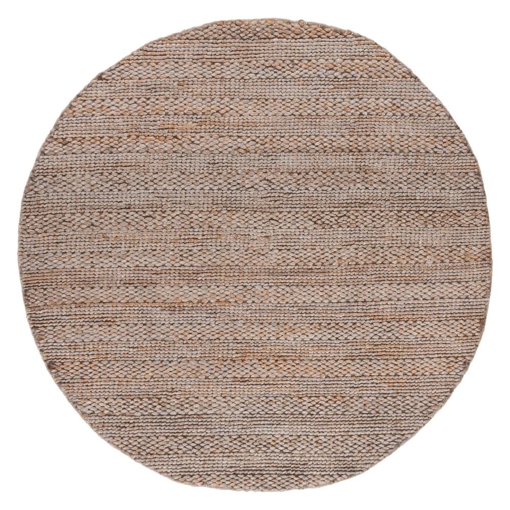 6' Solid Woven Round Area Rug Beige - Safavieh
